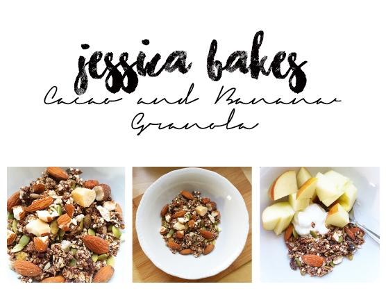 jessica bakes - cacao and banana granola
