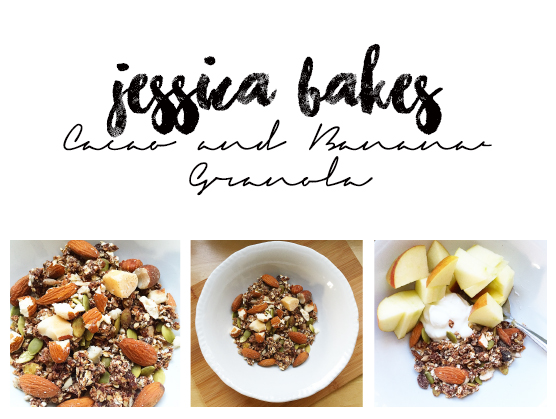 jessica bakes - cacao and banana granola